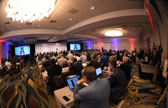 Commissioner Mike Aresco addressess the assembled media (American Athletic Conference)