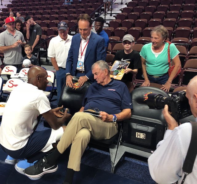 Ray Allen and Jim Calhoun share words ahead of Calhoun's Charity All-Star Game. (Mike Logan/The Daily Campus)