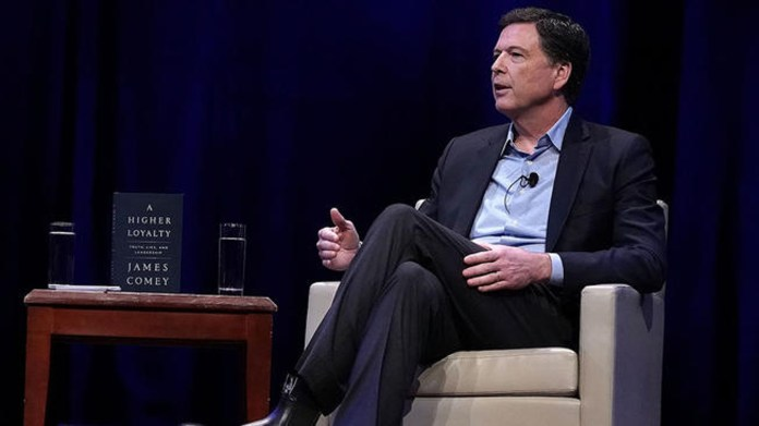 """WASHINGTON, DC - APRIL 30: Former FBI Director James Comey talks onstage at George Washington University April 30, 3018 in Washington, DC. Comey discussed his new book """"Higher Loyalty: Truth, Lies, and Leadership."""" (Photo by Alex Wong/Getty Images)"""