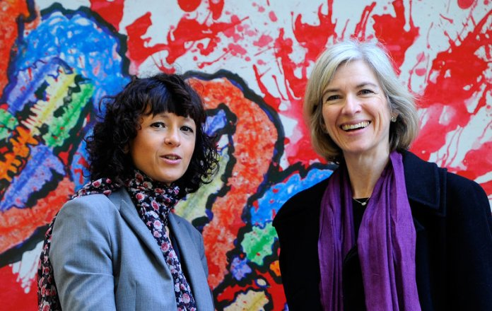 Emmanuelle Charpentier (left) and Jennifer Doudna have a case for being the inventors of CRISPR-cas9, a transformative tool for gene editing.  Miguel Riopa/AFP/Getty Images