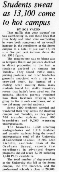 UConn students experienced hot move-in temperatures in Sept. 1973 when the Storrs campus faced a five percent increase in enrollment, bringing the total number of students to just over 13,100.(Photo provided by writer)