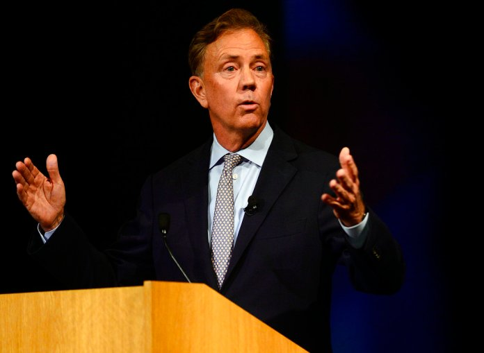 Democrat Ned Lamont speaks as he meets Republican Bob Stefanowski in the first gubernatorial debate of the campaign between the two candidates at the Garde Arts Center on Wednesday, Sept. 12, 2018, in New London, Conn. (Sarah Gordon/The Day via AP)