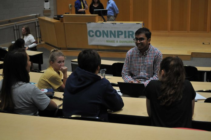 ConnPIRG hosts breakout sessions for interested students to learn about the various activities run by the organization in the ITE building on September 12, 2018. (Judah Shingleton/The Daily Campus)
