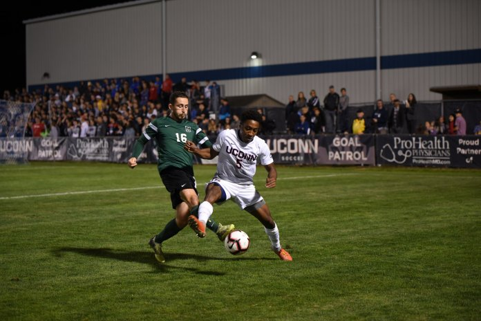 The Men's Soccer team defeats Dartmouth College 1-0 on September 8,2018. They improved their record to 3-2 and their next home game is against University of Rhode Island on September 11. (Charlotte Lao/The Daily Campus)
