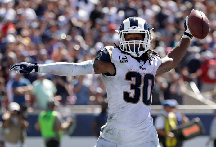 Los Angeles Rams running back Todd Gurley celebrates after scoring during a game against the Arizona Cardinals Sunday, Sept. 16, 2018, in Los Angeles. (AP Photo/Marcio Jose Sanchez)