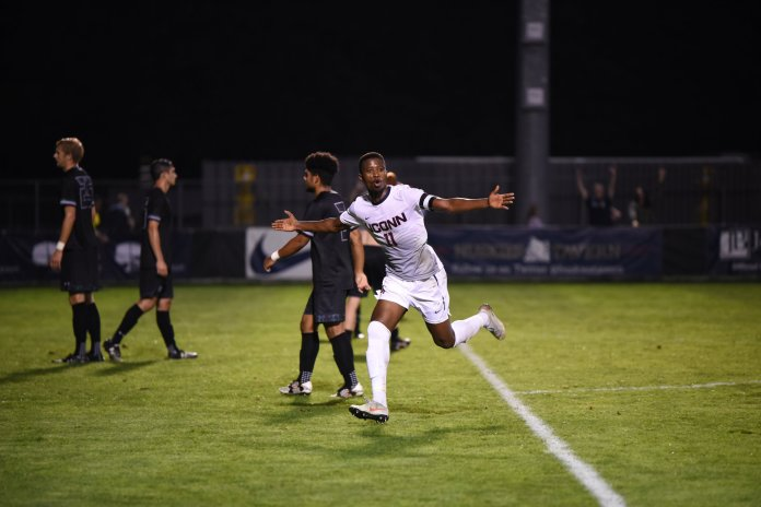 Abdou Mbacke Thiam scored three goals to lift UConn to a 3-2 win over Loyola on Sept. 15. (Charlotte Lao/ The Daily Campus)