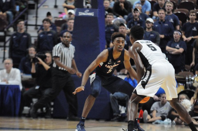 The men's basketball team plays an exhibition game against Providence at Mohegan Sun Arena. The Huskies fell to the Friars with a final score of 90-76. File Photo/The Daily Campus