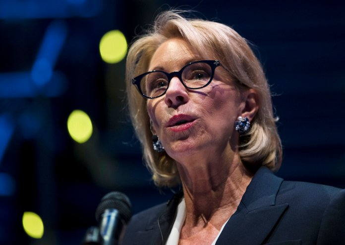 Education Secretary Betsy DeVos speaks during a student town hall at National Constitution Center. (AP Photo/Matt Rourke)