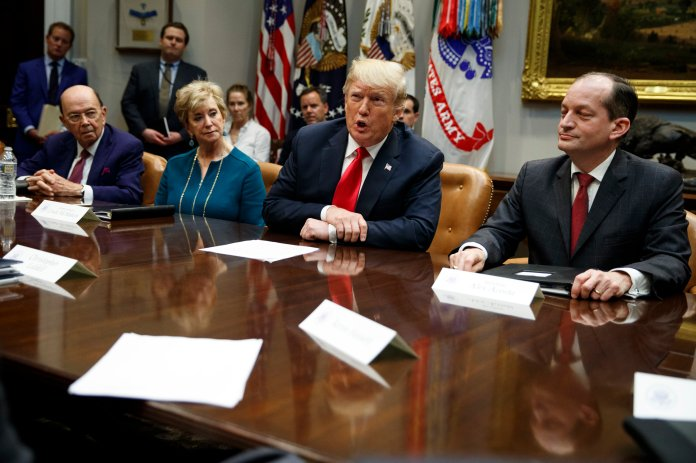 President Donald Trump speaks during a meeting of the President's National Council of the American Worker in the Roosevelt Room of the White House on Monday, Sept. 17 in Washington, as from left, Secretary of Commerce Wilbur Ross, Small Business Administration administrator Linda McMahon and Secretary of Labor Alex Acosta listen. (Evan Vucci/AP)