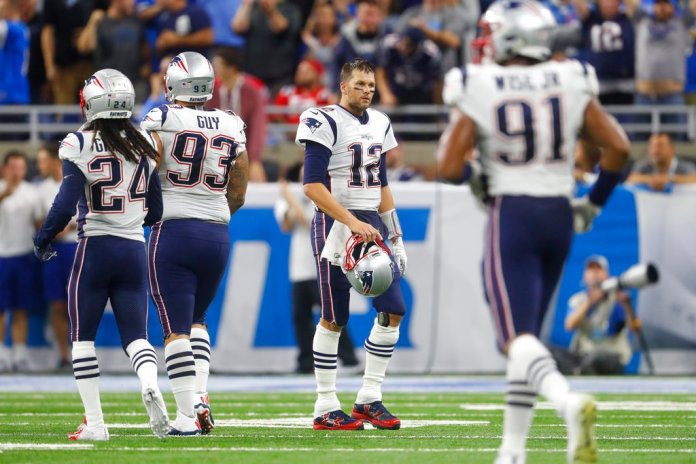 New England Patriots quarterback Tom Brady walks off the field during the second half of an NFL football game against the Detroit Lions, Sunday, Sept. 23, 2018, in Detroit. (AP Photo/Paul Sancya)