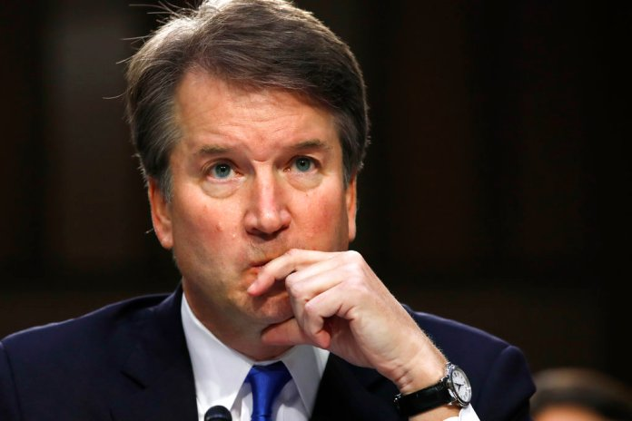 FILE - In this Sept. 5, 2018, file photo, President Donald Trump's Supreme Court nominee, Brett Kavanaugh listens to a question while testifying before the Senate Judiciary Committee on Capitol Hill in Washington. (AP Photo/Jacquelyn Martin, File)