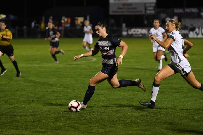 UConn Women's Soccer plays East Michigan Friday night at Marrone Stadium. Sophomore Yamilee Eveillard led the team with six shots on the goal but the game ended in a 0-1 loss. Photo by Nicholas Hampton/ Associate Photo Editor