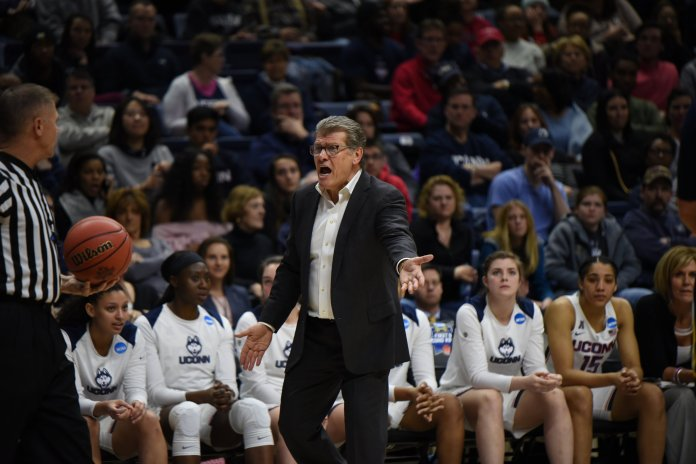 In an in-state battle against Quinnipiac for the second round of the NCAA Tournament, the Huskies defeat the Bobcats 71-46 on March 19, 2018. In their last game in Gampel of the season, the Huskies shot 59.1% and had 33 rebounds. They will be playing in Albany for Regionals next weekend. (Photo by Charlotte Lao/The Daily Campus)