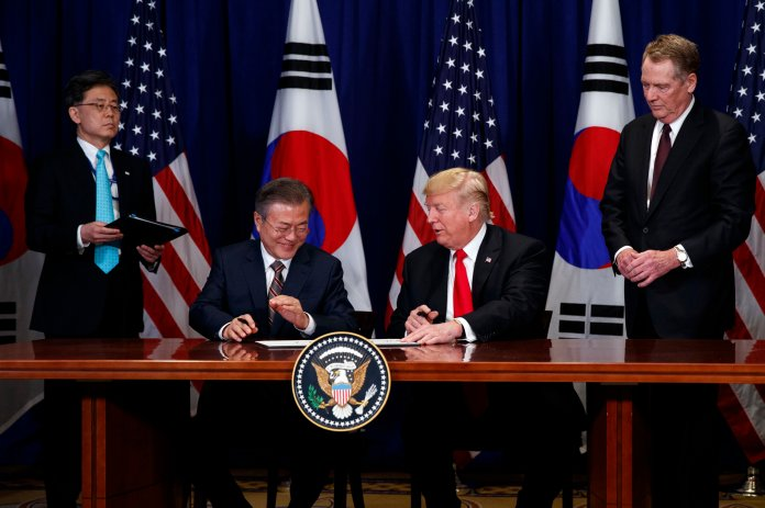 President Trump and South Korean President Moon Jae-In participate in a signing ceremony for the United States-Korea Free Trade Agreement, in New York. (AP Photo/Evan Vucci)