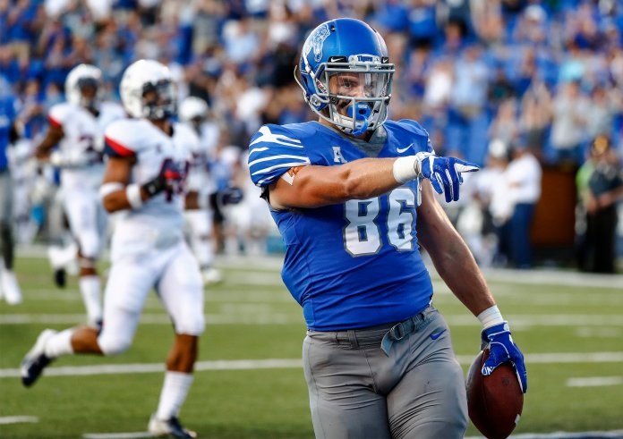 Memphis tight end Joey Magnifico celebrates a touchdown against Connecticut during a game on Saturday, Oct. 6 in Memphis, Tenn. (Mark Weber/AP)
