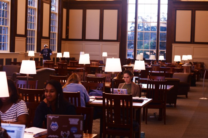 Students utilize the peaceful study space in the newly renovated South Reading Room in the Wilbur Cross building on October 9, 2018 (Judah Shingleton/The Daily Campus)