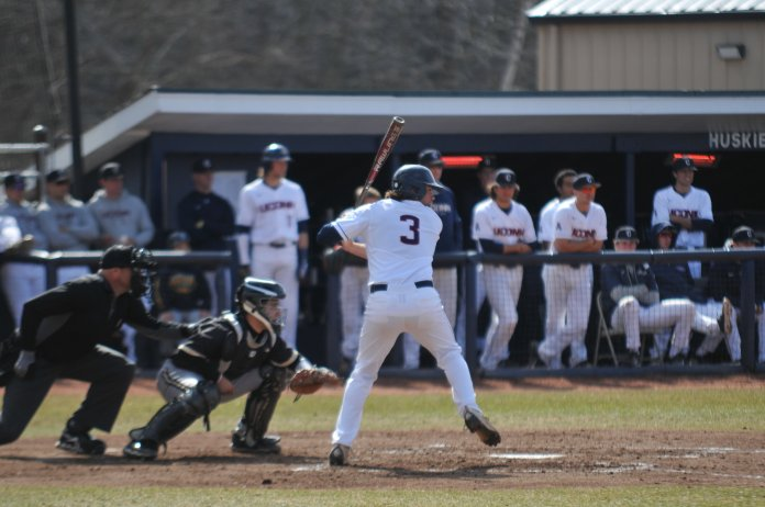 File-Troy Stefanski up to bat for the Huskies. (Eric Wang/ The Daily Campus)