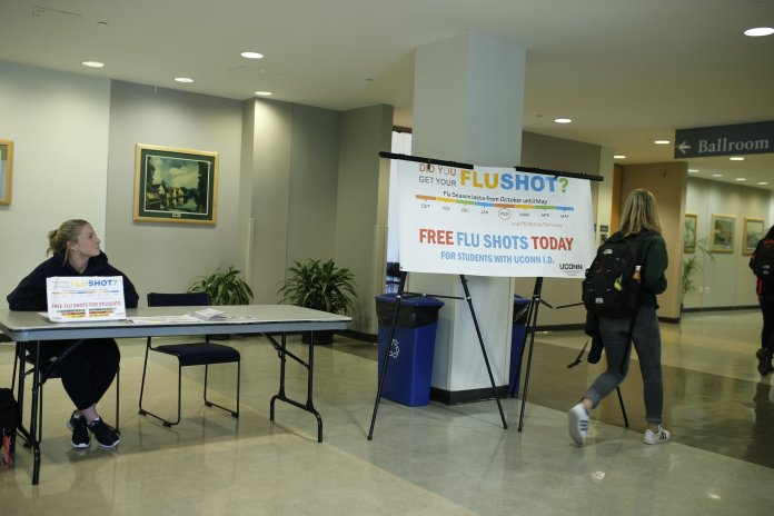The University of Connecticut offers free flu shots throughout October and November. The next one is Oct. 24 in the Student Union room 104 from 12:30 p.m. to 3:30 p.m. (File/The Daily Campus)