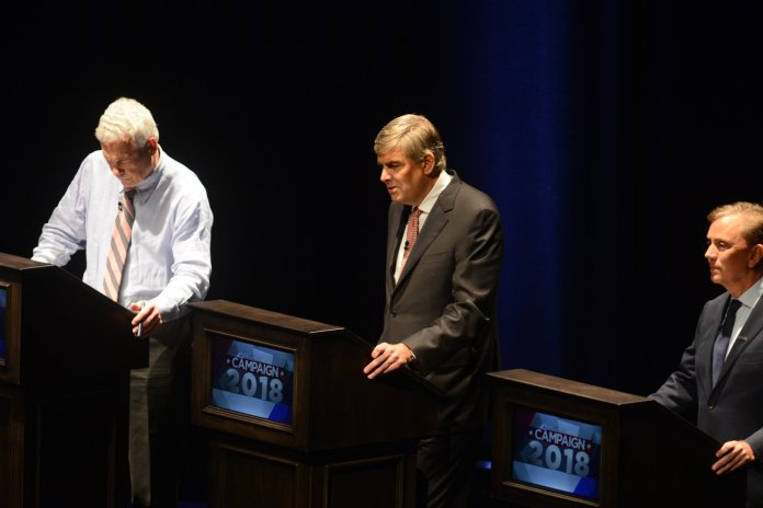 Connecticut's three Gubernational candidates during a debate in September 2018. Many students reported being dissatisfied with the candidates. (Eric Wang/ The Daily Campus)