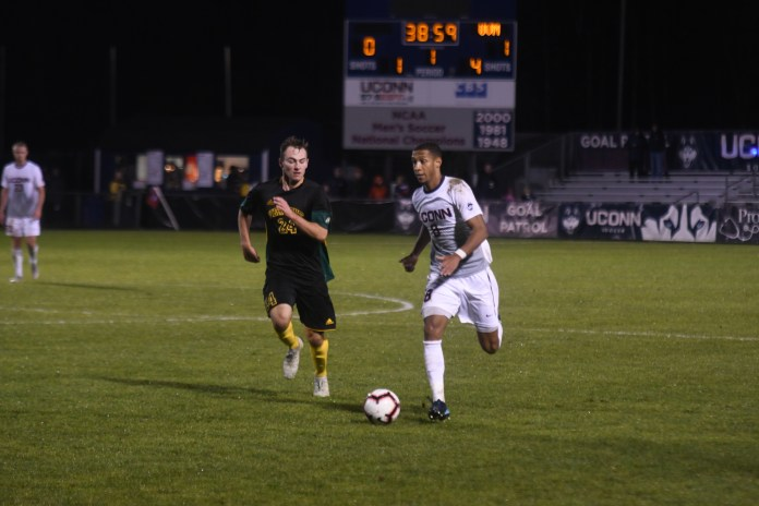 The UConn Huskies Men's Soccer team defeats the UVM Catamounts at Joseph J. Morrone Stadium on October 23, 2018. It was a 3-2 win for the Huskies, with #15 Cole Venner scoring the winning goal just before the time was up. The team will play Southern Methodist University at Morrone on Saturday, October 27 (Judah Shingleton/The Daily Campus)