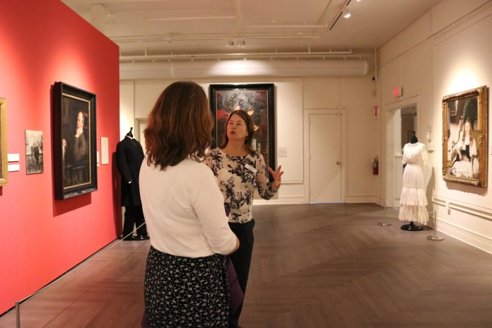 Participants learn about the life and artwork of Ellen Emmet Rand during a concise 30 minute tour of her new collection at the Benton. The tour took place during lunchtime on Wednesday. (Maggie Chafouleas/The Daily Campus)