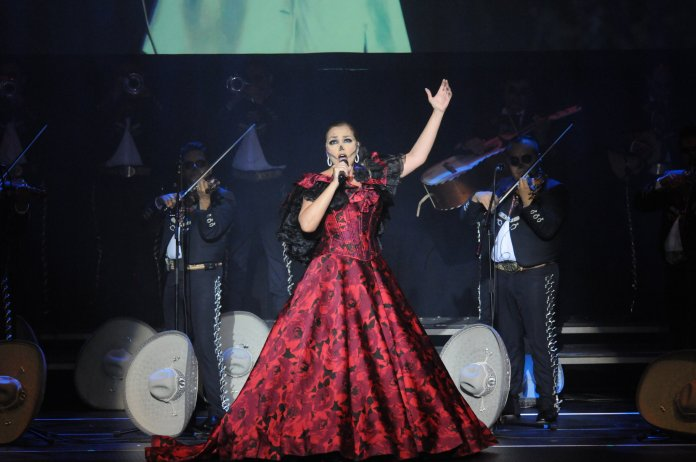 """Aida Cuevas, """"The Queen of Mariachi"""" performs traditional mariachi music at Jorgensen at 7:30 pm Nov.1. Cuevas is esteemed and beloved figure in Mexico, seven Latin Grammy nominations in the """"Best Mariachi/Ranchero Album"""" category. (Photo by Congyang An/The Daily Campus)"""