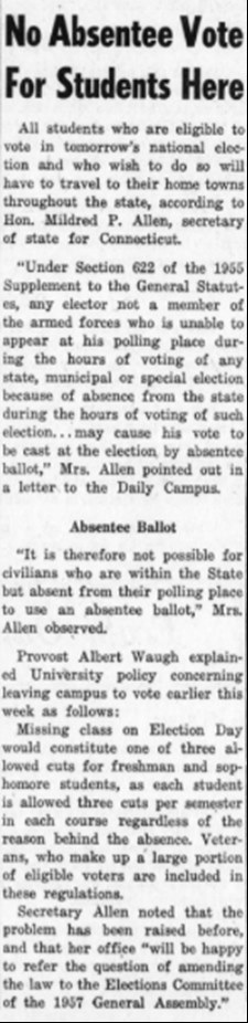 In 1956, Univeristy of Connecticut students were able to vote while on campus via absentee ballots. (Photo supplied via writer.)