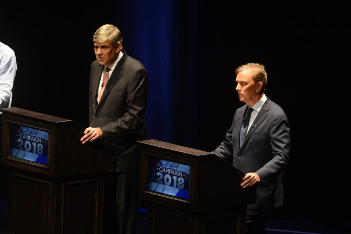 The University of Connecticut hosts the gubernatorial debate with independent candidate Oz Griebel, Republican candidate Bob Stefanowski, and the Democratic candidate Ned Lamont. The three candidates discussed various policy changes that would change the future of Connecticut (Eric Wang/The Daily Campus)