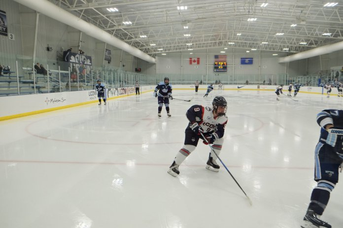 UConn Hockey players are playing against opponents in Mark Edward Freitas Ice Forum. (File Photo/The Daily Campus)