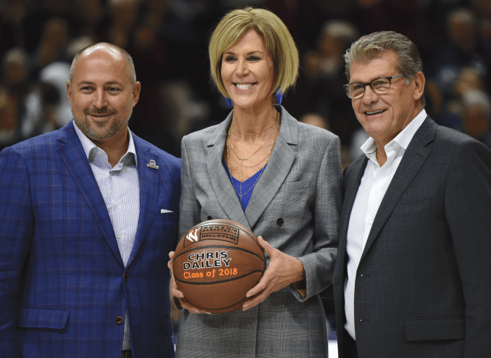 UConn Women's basketball assistant coach Chris Dailey was honored prior to UConn's game against Ohio State on Nov. 11, 2018. (Charlotte Lao/ The Daily Campus)