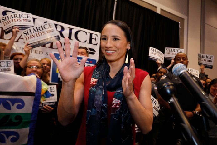 In this Tuesday, Nov. 6, 2018 file photo, Democratic house candidate Sharice Davids prepares to speak to supporters at a victory party in Olathe, Kan. Davids defeated Republican incumbent Kevin Yoder to win the Kansas' 3rd Congressional District seat. (Colin E. Braley/AP)