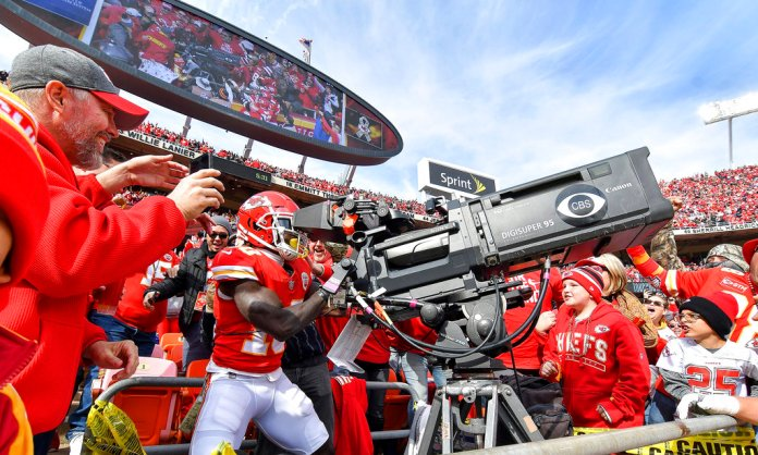 Kansas City Chiefs wide receiver Tyreek Hill takes control of the end zone television camera after scoring a touchdown on a pass from quarterback Patrick Mahomes in the second quarter of an NFL football game against the Arizona Cardinals Sunday, Nov. 11, 2018 at Arrowhead Stadium in Kansas City, Mo.(John Sleezer /The Kansas City Star via AP)