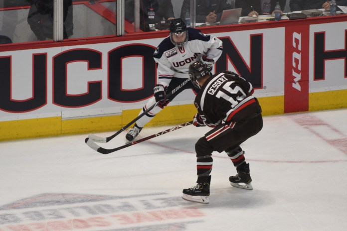 The Huskies beat the visiting Brown Bears in a Tuesday clash at the XL Center by a score of 3-1 (Eric Wang/The Daily Campus)