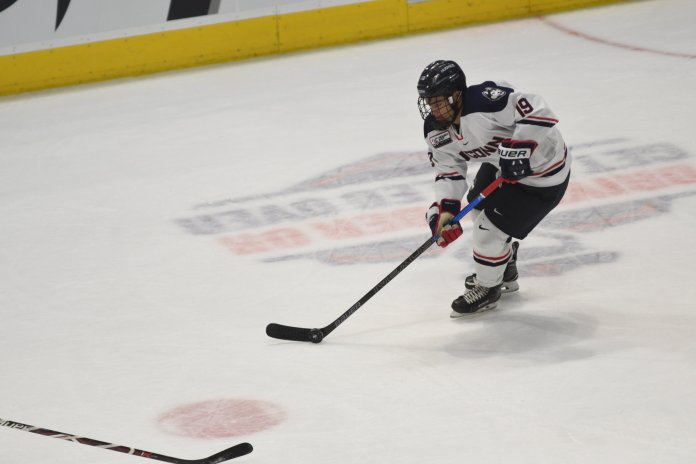 On the heels of a win over Brown on Tuesday night, UConn Men's Hockey will face UMass Lowell for a home-and-home series. (Eric Wang/ The Daily Campus)