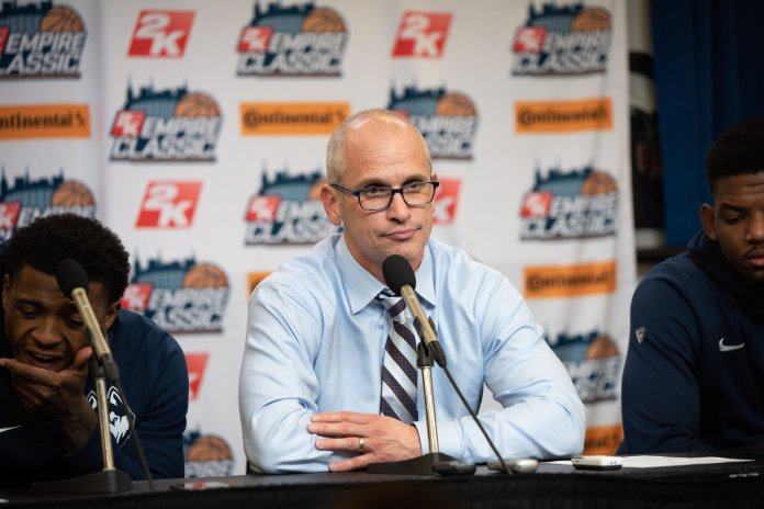 UConn head coach Dan Hurley speaks to media following the Huskies' 91-72 loss to Iowa in the finals of the 2K Empire Classic at Madison Square Garden on Friday, Nov. 16, 2018. (Charlotte Lao/The Daily Campus)