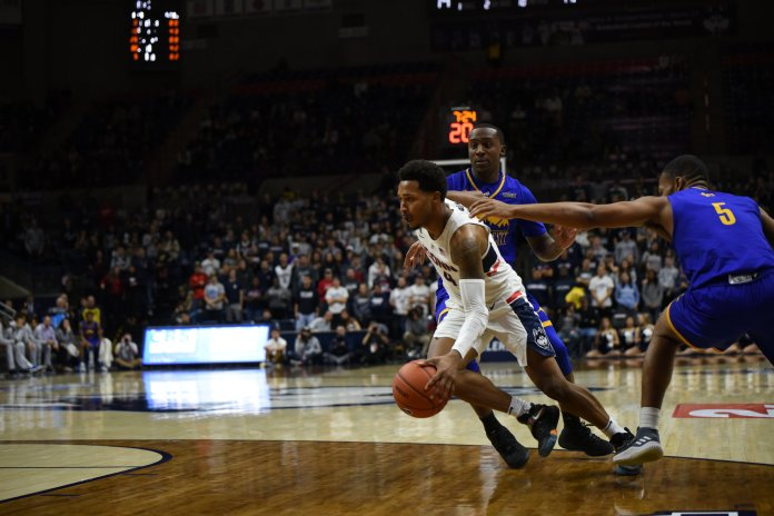 Senior Jalen Adams was dominant for the Huskies in their win over Cornell. Photo by Nicholas Hampton, Associate Photo Editor/The Daily Campus