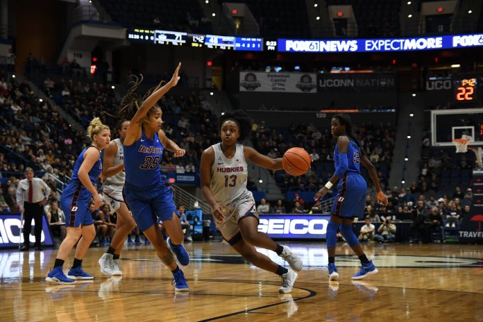 Christyn Williams drives on a defender during the Huskies' 99-63 win over DePaul. The Huskies are back in action against No.2 Notre Dame on Sunday. (Judah Shingleton/ The Daily Campus)