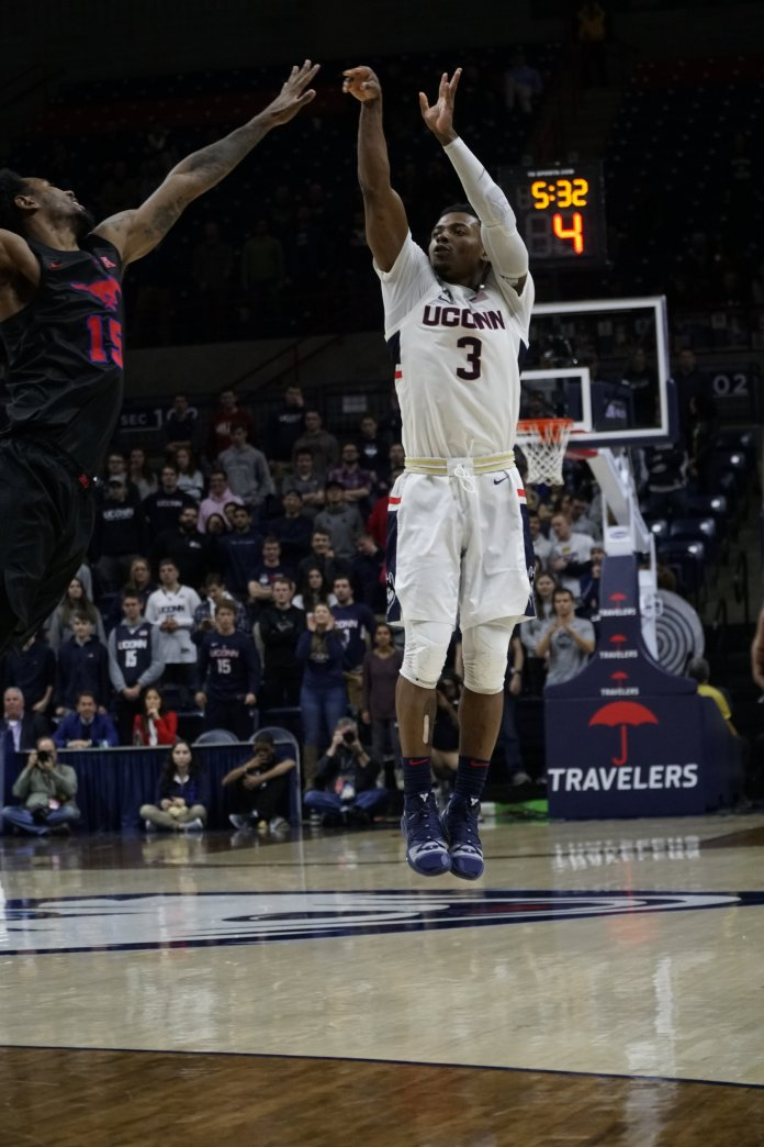 Alterique Gilbert's late-game heroics weren't enough as the Huskies fall just short Saturday night. Eric Wang/The Daily Campus