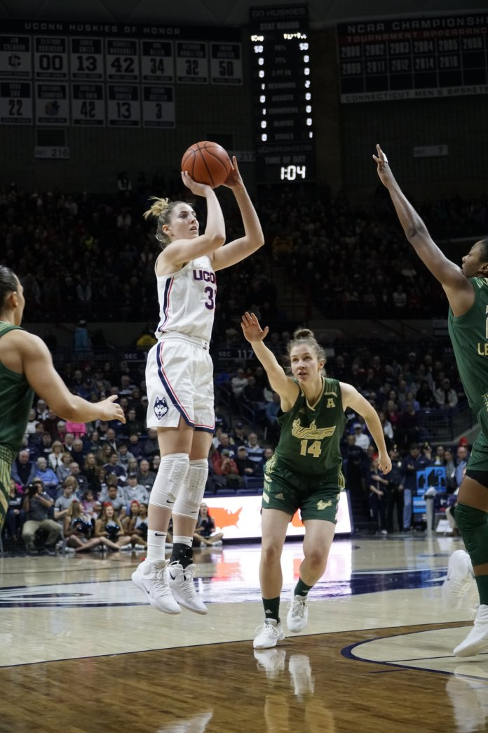 Katie Lou Samuelson solidified herself as one of the greatest Huskies of all-time Sunday with her 2,000th point scored. Photo by Eric Wang/The Daily Campus