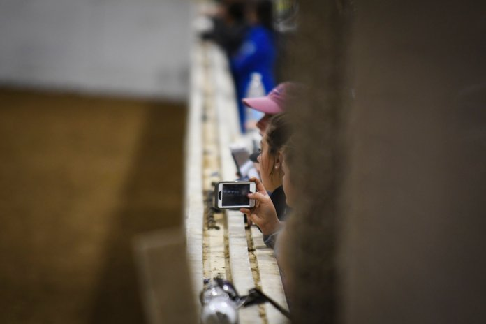 The bleachers in Horsebarn Hill arena are filled as fans watch the game and take videos from the side of the field.
