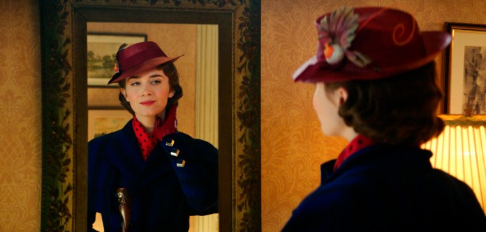 """This image released by Disney shows Emily Blunt as Mary Poppins in """"Mary Poppins Returns."""" Blunt failed to receive an Oscar nomination for best actress for her role in the film. (Disney via AP)"""