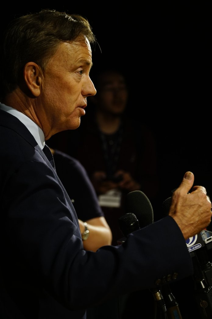 Gov. Ned Lamont recently met with UConn presidential search committee chair Thomas Kruger and two finalists for the school's next president (Eric Wang/The Daily Campus)