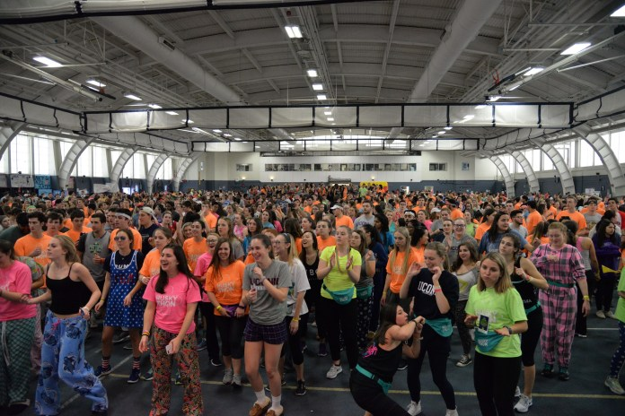 Students gather in the Greer Field House to participate in the annual 18 hour dance marathon HuskyTHON to raise money for Connecticut Children's Medical Center from Saturday, Feb. 18 to Sunday, Feb. 19, 2017. (file photo/The Daily Campus)