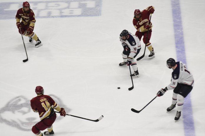 The Huskies committed six penalties throughout the entire game. (Eric Wang/The Daily Campus)