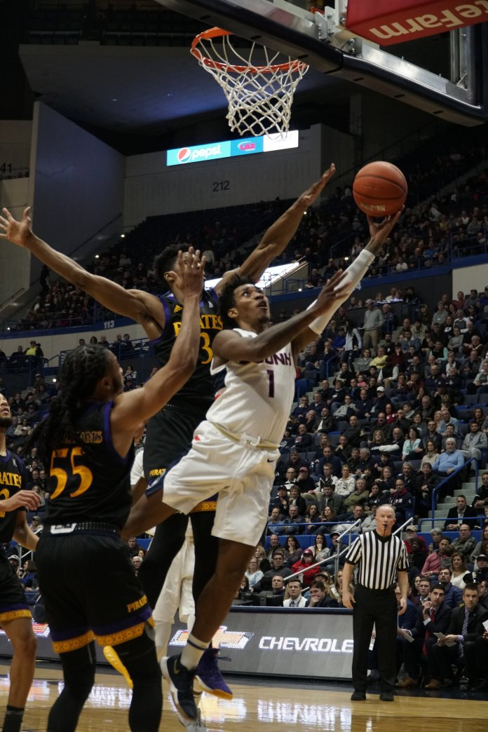 The Huskies are coming off an overpowering win against ECU. Center Josh Carlton reached a career-high 16 rebounds, but Jalen Adams failed to score a point. Photo by Eric Wang/ The Daily Campus