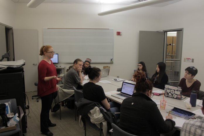 This theater class, taught by Professor Lindsay Cummings in the Fine Arts Resource Center, seeks to teach environmentalism through performance. (Aaron Yao/The Daily Campus)
