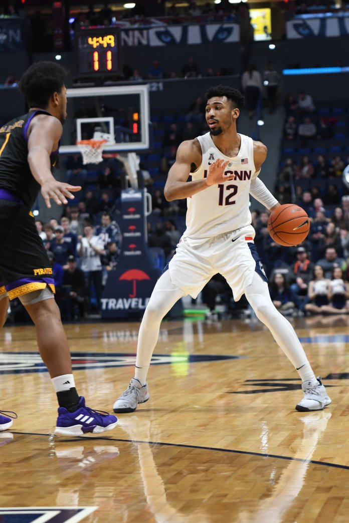 Tyler Polley surveys the floor on offense in a previous game against East Carolina (Eric Wang/The Daily Campus)