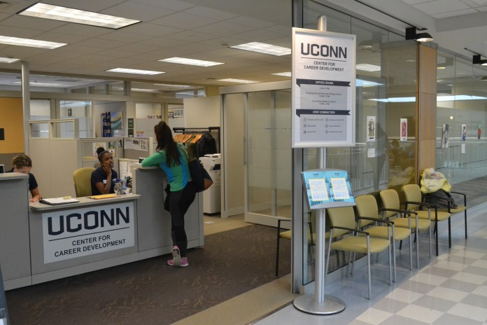 The Center for Career Development is located on the second floor of the Wilbur Cross Library. The CCD offers many resources to students looking for job opportunities, such as resume critiquing and career fairs. (File Photo/The Daily Campus)