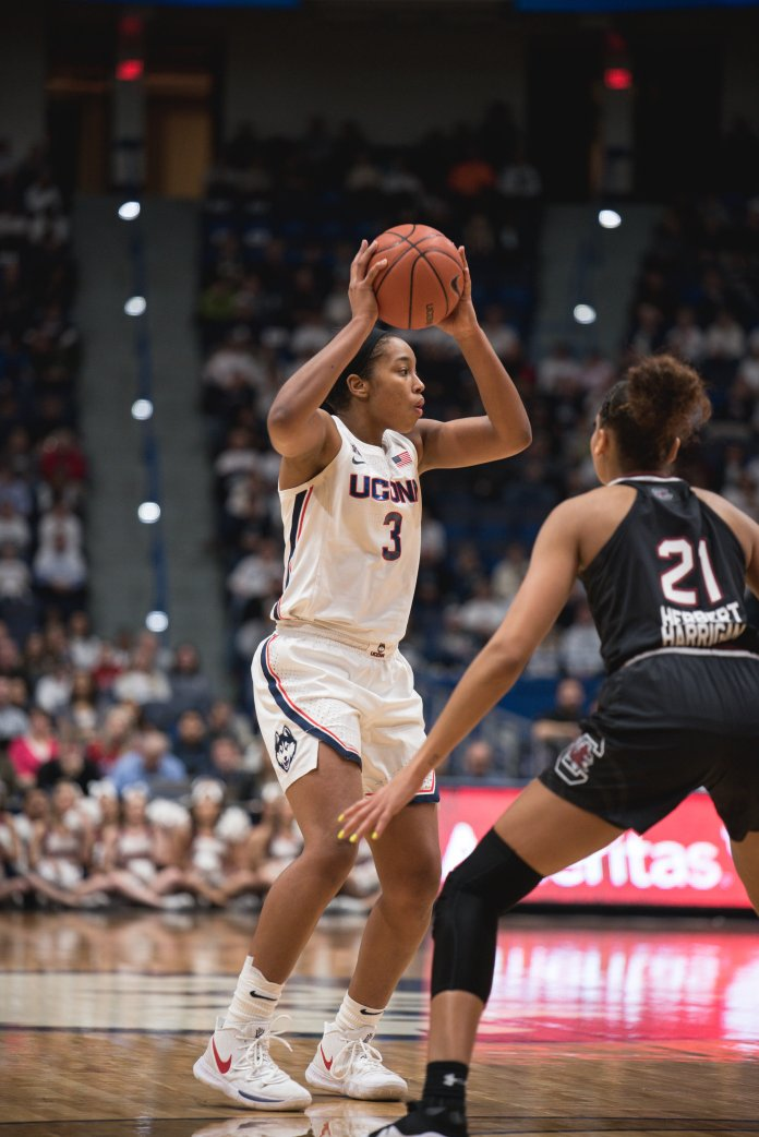 Megan Walker recorded her fourth career double-double with 21 points and 10 rebounds in UConn's 68-44 win over Tulsa. (Photo by Charlotte Lao/The Daily Campus)