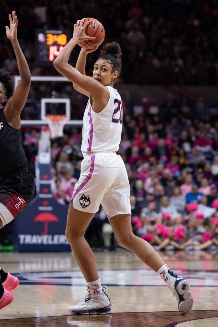 Freshman Olivia Nelson-Ododa get her first start in close win over USF(Photo by Charlotte Lao/The Daily Campus)